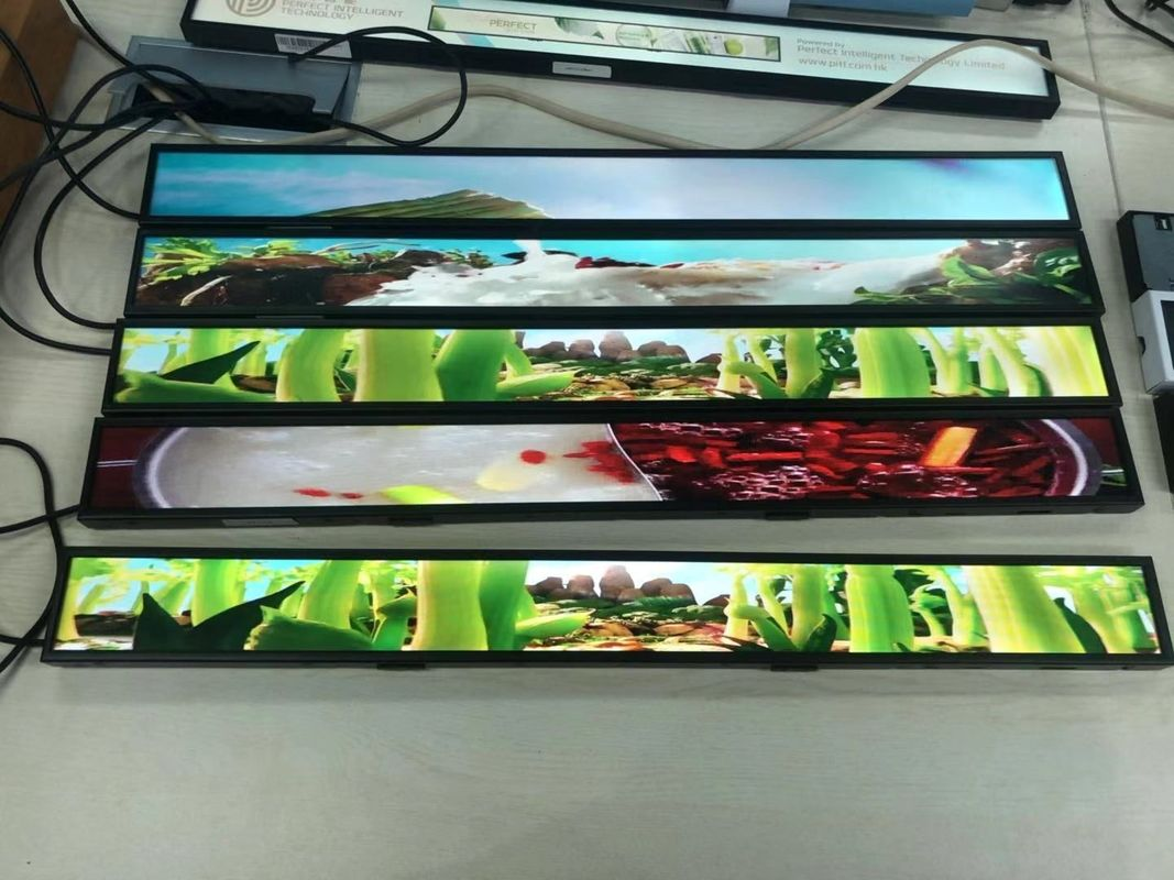 HD Stretched bar type LCD monitor 23 inch for goods shelves and advertising stands/displays